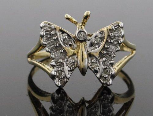 Designer Women's Buterfly Ring 10k Yellow Gold 0.25ct Diamonds YG-RN-P-JGK