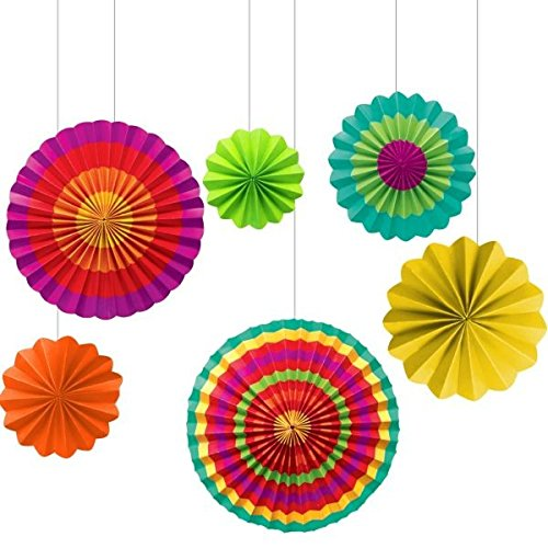 Amscan Fiesta Paper Fan Decorations (Set of 6) (Mexican Fan Decorations compare prices)