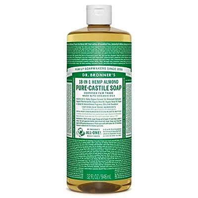 Dr. Bronner's Magic Soaps Pure-Castile Soap, 18-in-1 Hemp Almond, 32-Ounce