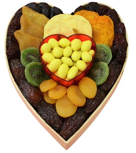 Nutri Shah Love Heart Shaped Fruit, Date, and Almond Gift Basket Tray