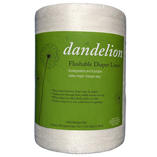 Dandelion Diapers Biodegradable and Flushable Envionmentally Friendly, Safe, Natural Diaper Liners, 100% Bamboo, 200 Sheets