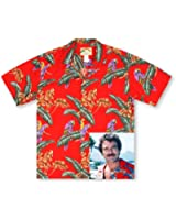 Paradise Found Jungle Bird Red Tom Selleck Magnum PI Hawaiian Shirt