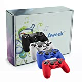Aweek® PS4 Controller Silicone Skin Case Protective Cover Compatible With Sony PlayStation 4--Black Blue Red White 4 Pack
