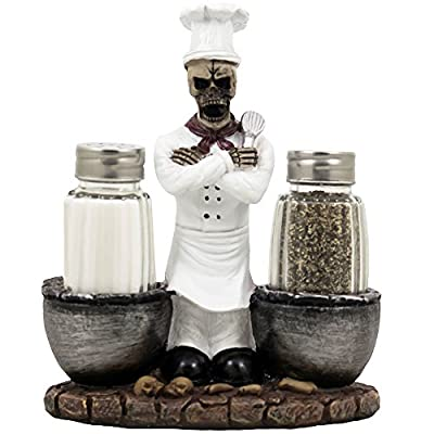 Spooky Skeleton Chef Glass Salt and Pepper Shaker Set with Cauldrons & Skulls Decorative Display Holder Figurine for Halloween Decorations As Kitchen Table Decor or Scary Gothic Gifts from Generic