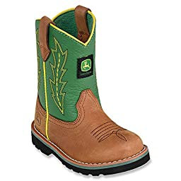 Johnny Popper Infant Boys Green Leather Classic Pull-On Cowboy Boots 6.5 M