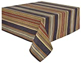 "100% Cotton Blue Red & Brown Striped 60x60"" Tablecloth - Prairie Navy"
