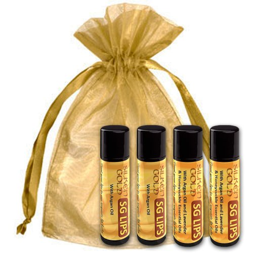 Best 100% All Natural Lip Balm With Organic Argan Oil, Beeswax And Other Natural Ingredients Plus Vitamin E - Anti-Oxidant Rich - Gluten Free - Paraben Free - Long-Lasting - Ultra Hydrating And Moisturizing Lip Therapy - 4Pack - For Men - Women - Children front-274832