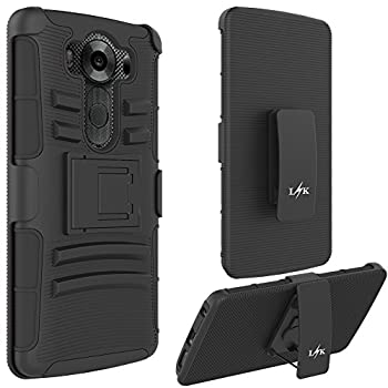 07. LK [Heavy Duty] [Shock-Absorption] Black Dual Layer Armor Holster Defender Protective Hybrid Case Cover with Belt Clip for LG V10