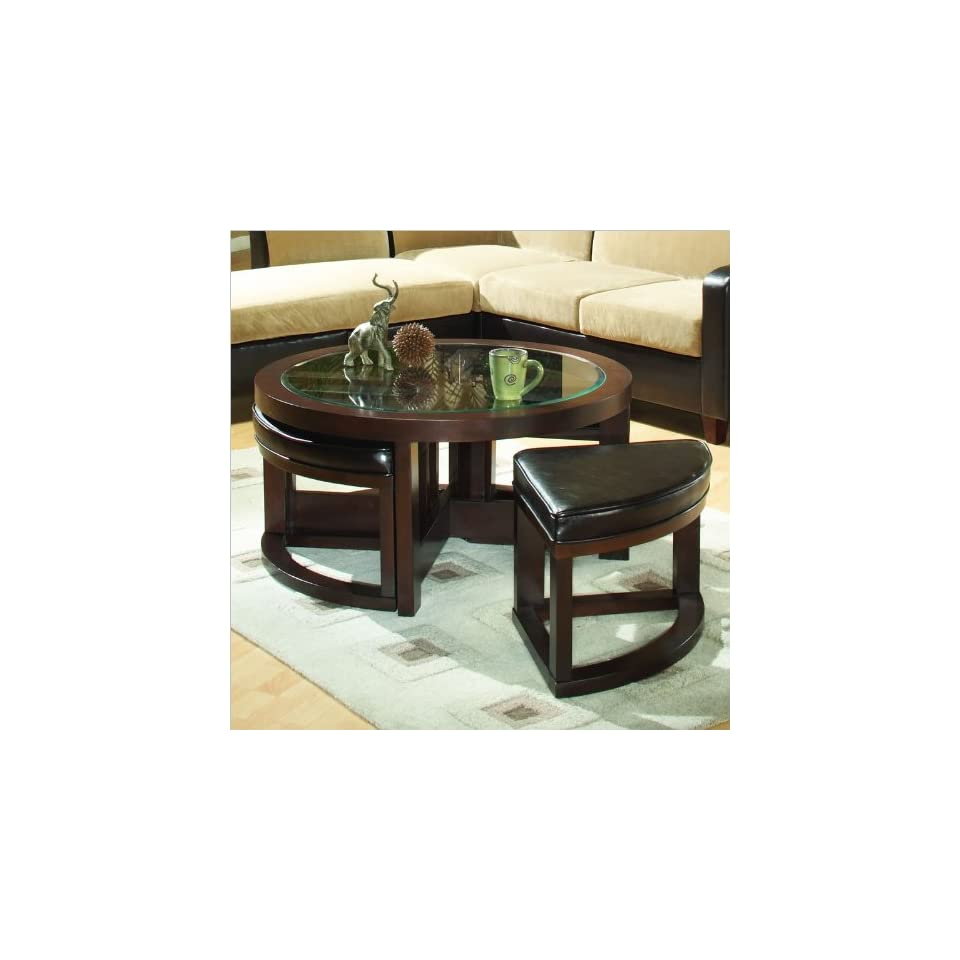Round Glass Top Cocktail Table With 4 Ottomans Furniture Decor