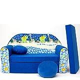 Mini café sofá infantil con diseño de café con diseño de bebé sofá juego de cojines para colchón suave de terciopelo diferentes coloures C16 blau Afrika Talla:59/98/48cm