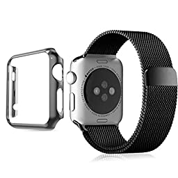 Apple Watch Band, Biaoge Steel Milanese Loop Replacement Wrist Band with Plated Case for Apple Watch (Black 42mm)