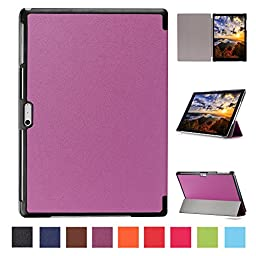 Microsoft Surface Pro 4 Case, SAVYOU Microsoft Surface Pro 4 12.3-Inch Slim Cover Smart Leather Stand Holder Case for Microsoft Surface Pro 4(Top Premium PU Leather, Folded Cover Design, Purple)