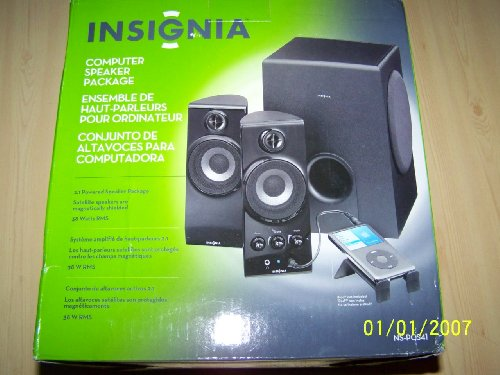 Insignia 2.1 Computer Speaker System Ns-Pcs41 4 Piece With Subwoofer