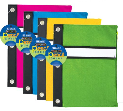 Bazic Bright Color 3-Ring Pencil Pouch