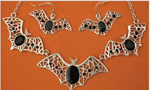 Elope Costume Bat Necklace and Clip-on Earrings