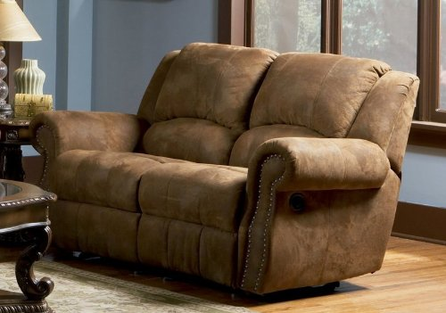 Buy Low Price Coaster Recliner Loveseat Nail Head Trim Distressed Brown Microfiber (VF_AZ00-46608×29323)