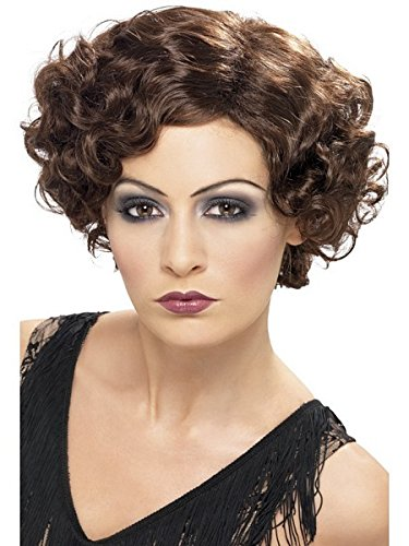 Smiffy's Women's 20's Flirty Flapper Wig Short and Wavy, Brown, One Size