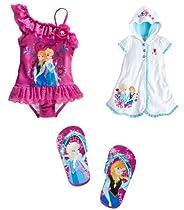 Disney Store Frozen Elsa/Anna Swim Set-Swimsuit/Cover-Up/Flip-Flops (Size Large)