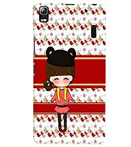 PrintVisa Cute Cartoon Art Print & Pattern Girl 3D Hard Polycarbonate Designer Back Case Cover for Lenovo A7000