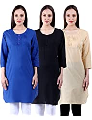 NumBrave Blue & Black & Beige Cotton Pintex Button Kurtis (Combo Of 3)