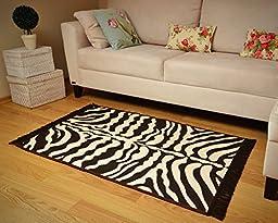 Zebra Skin Pattern Area Rug (Animal Style) ( Brown- Ivory) ( 32\'\' X 47\'\' ) ( 2.8 X 3.9 feet)