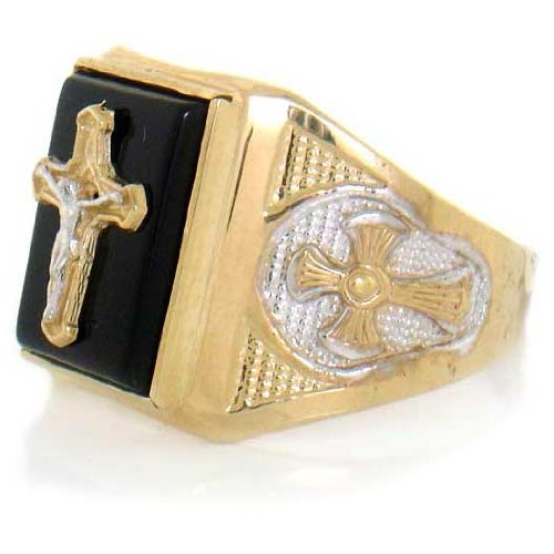 9ct Solid Yellow Gold Onyx Cross Religious Mens Ring