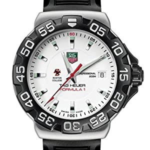Boston College TAG Heuer Watch - Mens Formula 1 Watch with Rubber Strap by TAG Heuer