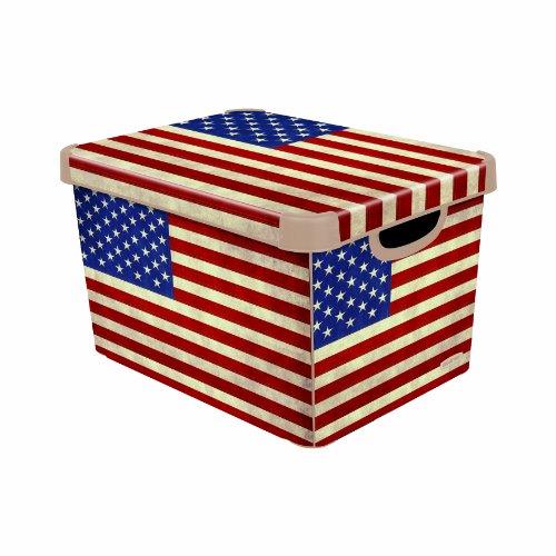 Stockholm 213240 Dekorative Box im amerikanischen Flaggendesign, groß, Rot / Blau