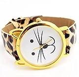 [Anes] ネコちゃんフェイスがめちゃめちゃキュート ねこ 顔 レディース 腕時計 ギフト プレゼント (レオパード柄)