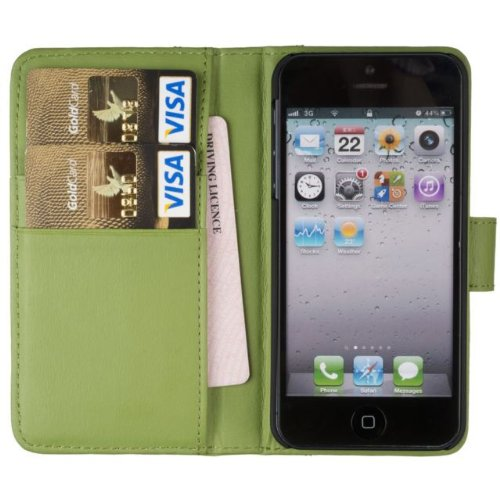 Special Sale Fonerize Leather Wallet & iPhone 5 & 5S Case & Credit Card Holder - Bright Green