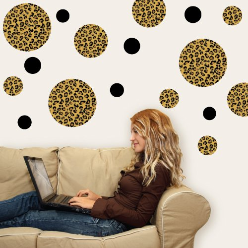 Leopard Print Dots Large Repositionable Peel and Stick Wall Decals