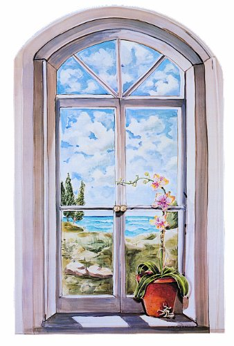 Stupell Industries Decorative Faux Window Scene, Arched Window with Orchid, 22 by 33-Inch