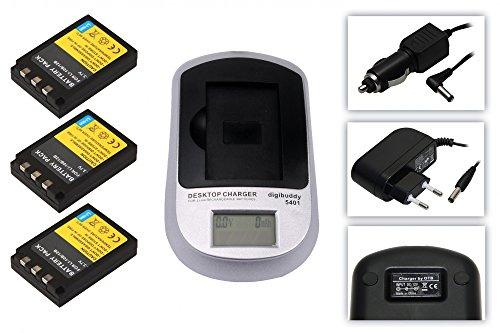 3x Akku wie Olympus Li-10B + Akku-Ladegerät 5401 inkl. Netzteil und KFZ-Ladekabel für Olympus mju: 1000 / 300 Digital / 400 / 410 Digital / 600 / 800 / 810 Digital
