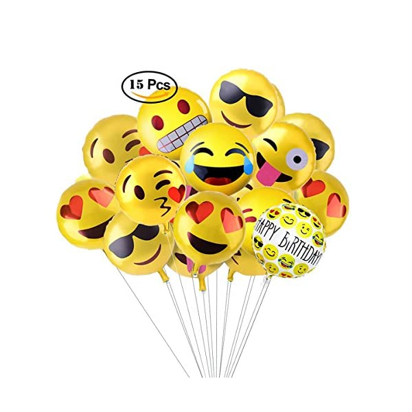 Aesetek 7 Emoji Designs 18 Helium Balloons For Party Decorations Set Of 2 With 1 Happy Birthday And Huge RainbowCloudSun