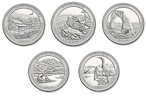 2014 P, D BU National Parks Quarters - 10 coin Set Uncirculated image
