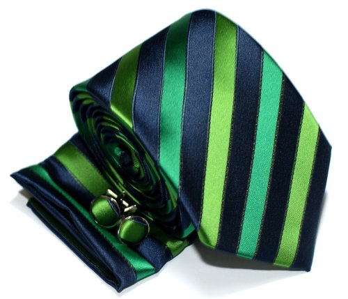 Premium Three-Colour Stripe Woven Microfiber Men's Tie with matching Handkerchief / Hanky and Cufflinks, Gift Box Set as Christmas Gift, Birthday Gift - Navy Blue and Green