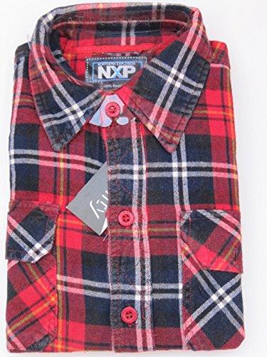 Herren-Flanell-Hemd Langarm NXP - Größe XL - Reine Baumwolle - angerauht #124119