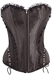 Black Corset Top with Hip Gauge and Lace Trail