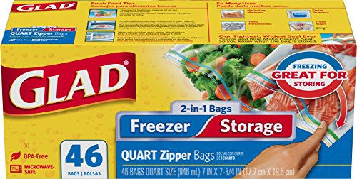 Glad Food Storage Bags, 2 in 1 Zipper, Quart, 46 Count (Pack of 3) (Glad Storage compare prices)