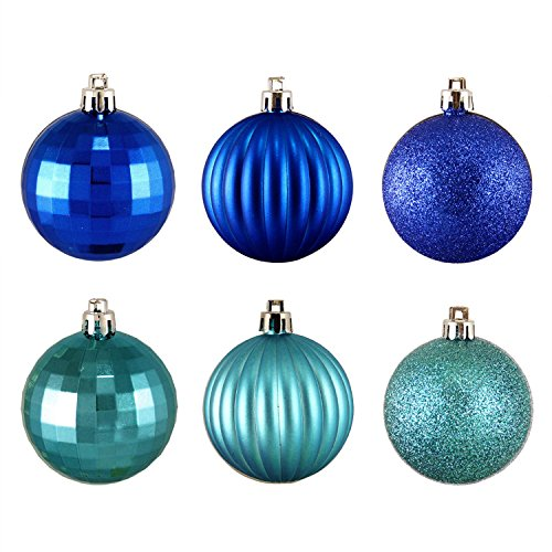 Northlight Seasonal 100 Count Peacock Blue 3-Finish Shatterproof Christmas Ball Ornaments, 2.5