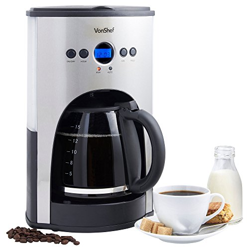VonShef 1100W Digital Filter Coffee Maker - Free 2 Year Warranty - 15 Cup Capacity with Fully ...