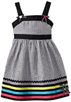 Youngland Girls 2-6X Gingham Sleeveless Seersucker with Bows At Shoulders, Black/Multi, 5