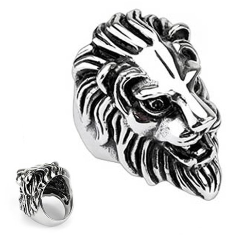Polished Stainless Steel Biker Ring For Men - Lion Design