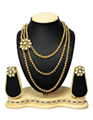 Gold Plated 3 Line Long Chain With Kundan Pandal Antique & Traditional Necklace Set