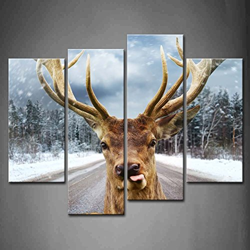4 Panel Wall Art Deer With Beautiful Big Horns On A Winter Country Road Snow Tree Painting The Picture Print On Canvas Animal Pictures For Home Decor Decoration Gift Piece (Stretched By Wooden Frame,Ready To Hang)