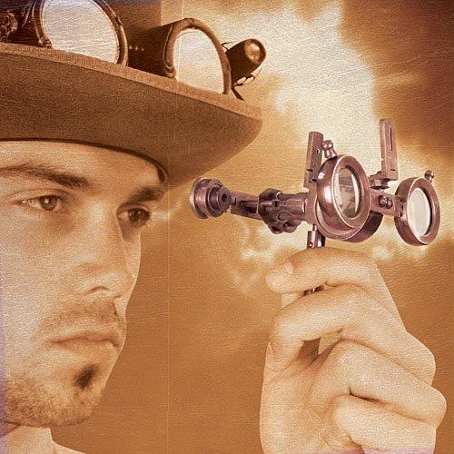 Steampunk Folding Oculator Encompassor Binoculars W/ Compass - Brass