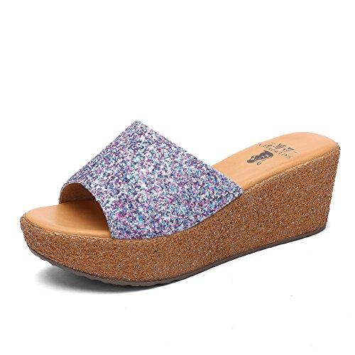 Sandales avec des semelles épaisses de la Dame en été/Paillettes coins en sandales et pantoufles et loisirs
