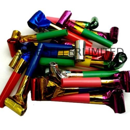 40 x PARTY BLOWERS BLOWOUTS BIRTHDAY LOOT BAG FILLER NOISE TOY FOIL COLOURS