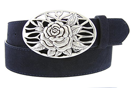 Silver Rose And Vines Buckle With Genuine Suede Leather Belt Strap In Navy