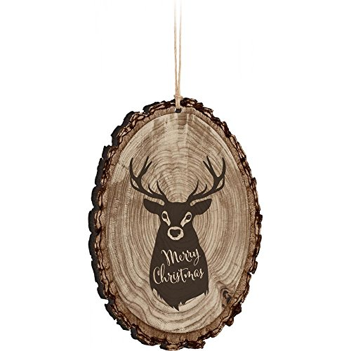 "4.5'' Wooden Oval Plaque Christmas Ornament (Deer ""Merry Christmas""')"